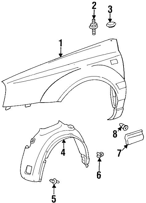 1997 Volkswagen Cabrio Cover. COMPONENTS, FENDER