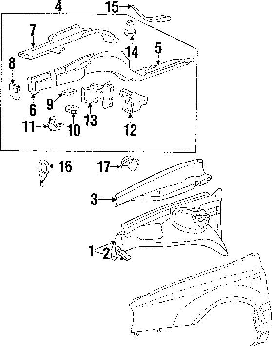 1999 Volkswagen Cabrio Bumper bracket nut. Retainer nut