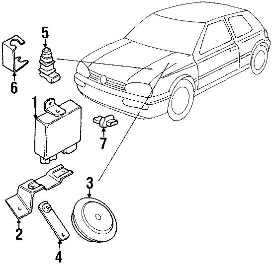 1990 Volkswagen Golf Bracket. Horn. Alarm. Brace. Mount