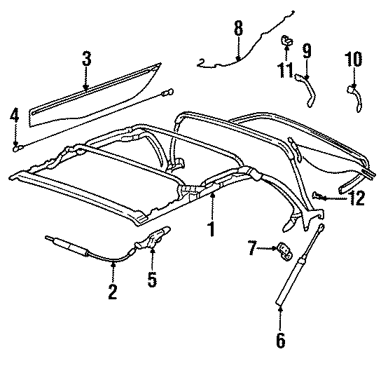 1996 Volkswagen Cabrio Convertible Top Cable. Convertible