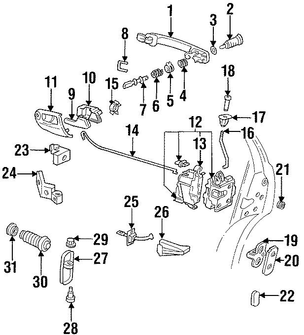 1998 Volkswagen Cabrio Lock Actuator. MicroSWITCH. DOOR