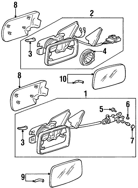 1995 Volkswagen Cabrio Door Mirror Adjustment Knob. Black