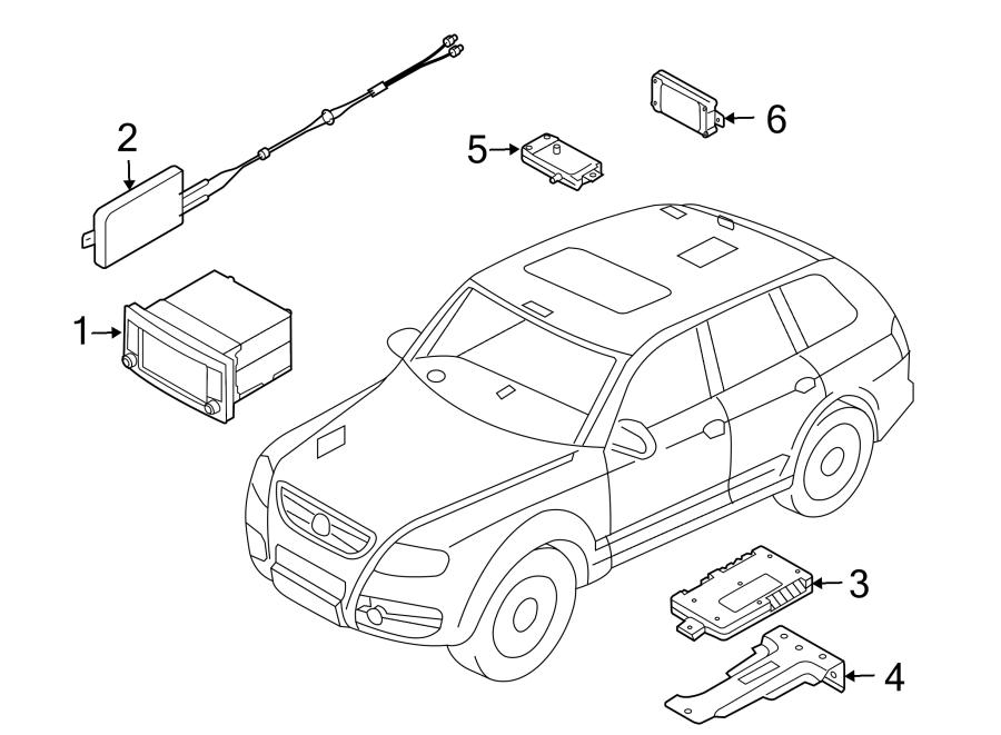 2007 Volkswagen Touareg Display unit. Radio Control Unit