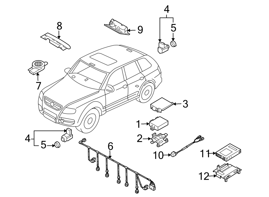 2007 Volkswagen Touareg Parking Aid System Wiring Harness