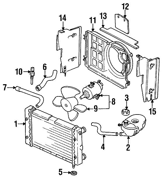 1988 Volkswagen Cabriolet Condenser. Radiator. Washer
