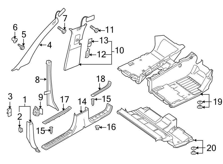2004 Volkswagen Touareg Kick Panel Trim. Anthracite, Cowl