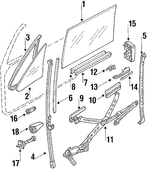 1993 Volkswagen Cabriolet Window Regulator (Lower). Power