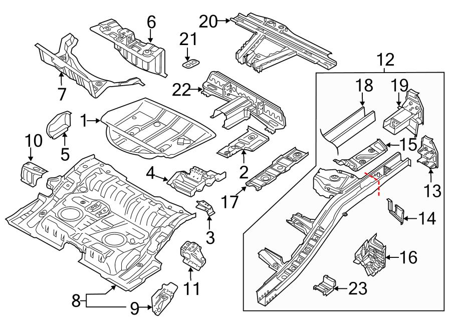 2014 Volkswagen Touareg Floor Pan (Rear). Tie, Body, Down