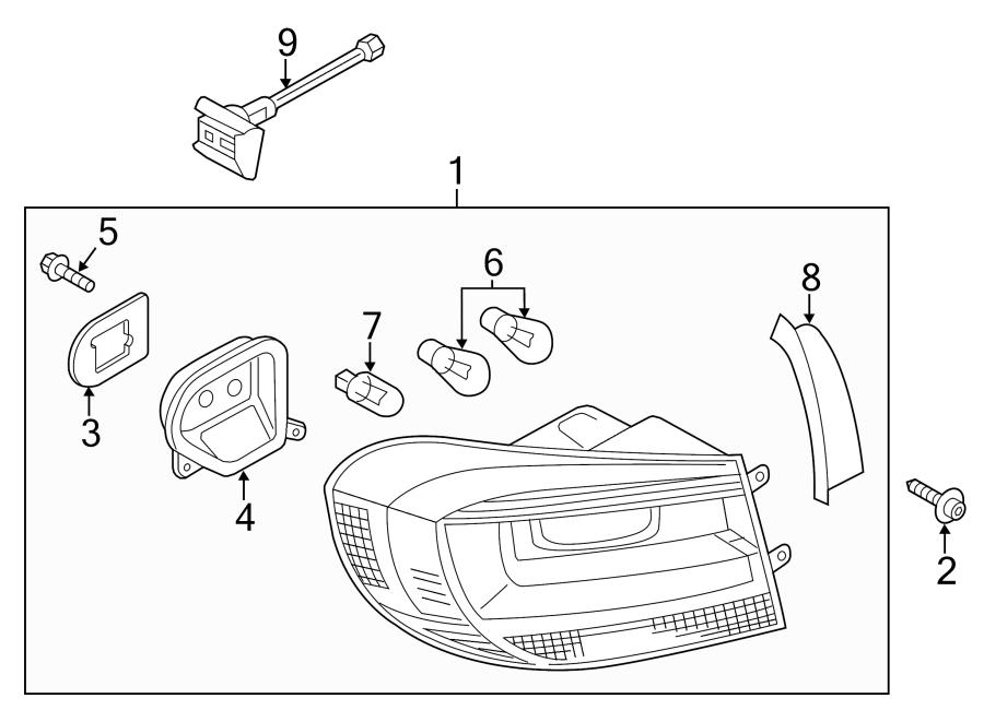 2016 Volkswagen Tiguan Adjuster. Adjustpart. Tail light