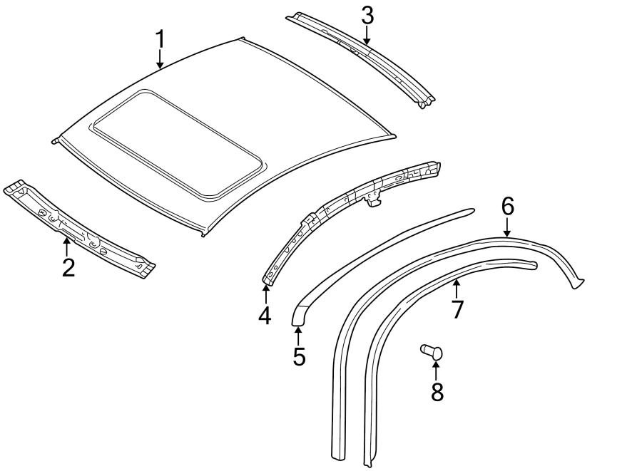 2003 Volkswagen Passat Wagon Roof Drip Molding (Upper