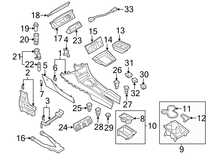 2009 Volkswagen Passat Wagon Console Panel. Beige, to 10