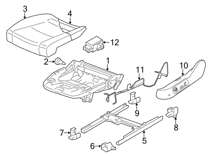 2009 Volkswagen CC Seat Frame Trim Panel. SEAT CUSHION