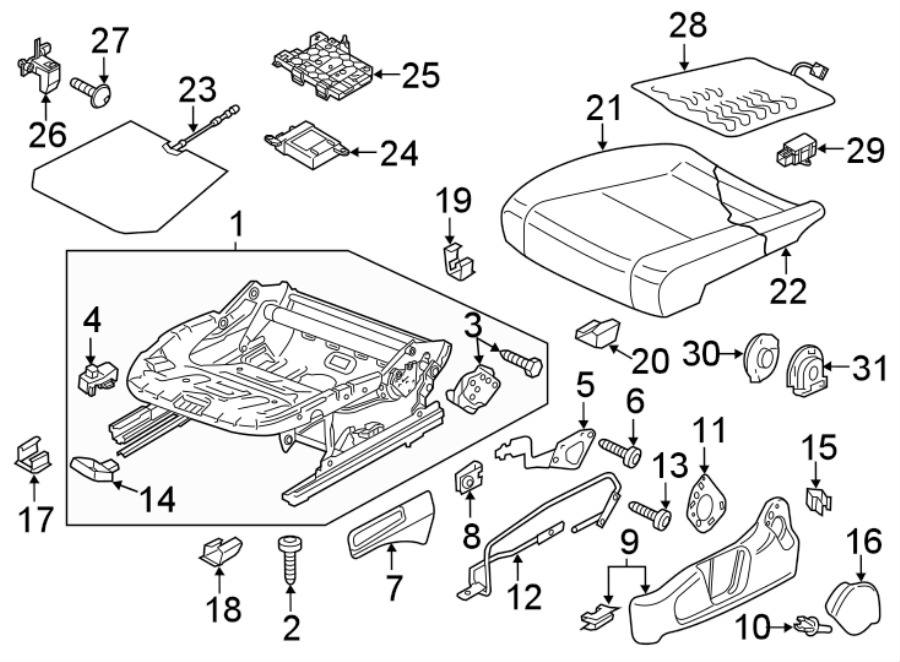 2019 Volkswagen Passat Plate. 2016-19, seat cushion