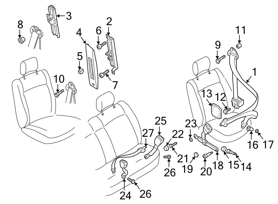 1997 Volkswagen EuroVan Knob bolt. Seat Belt Height