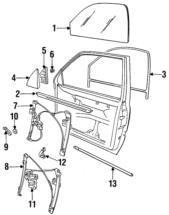 1993 Volkswagen Jetta Window Regulator (Lower). Manual