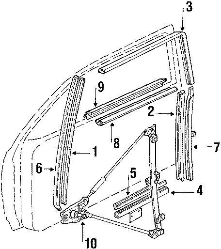1986 Volkswagen Scirocco Lift channel seal. Sash channel