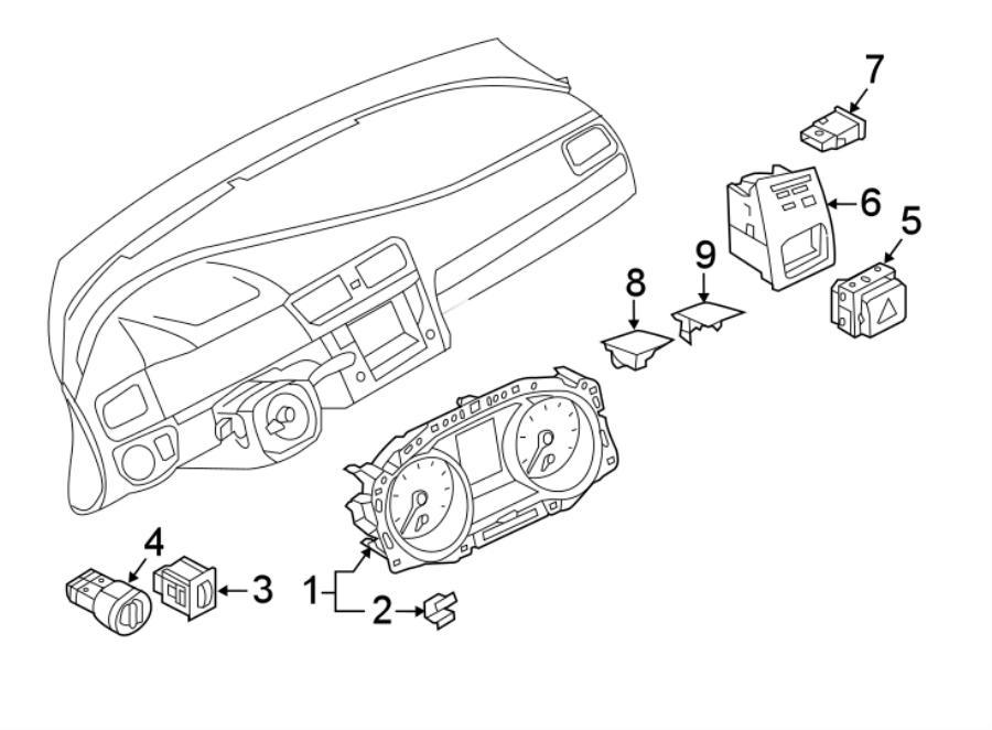 2018 Volkswagen Tiguan Headlight Switch. Auto, Fog, Drive