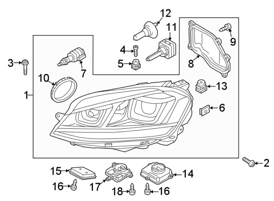 2015 Volkswagen Golf R Headlight Bulb Cap (Rear). W/R