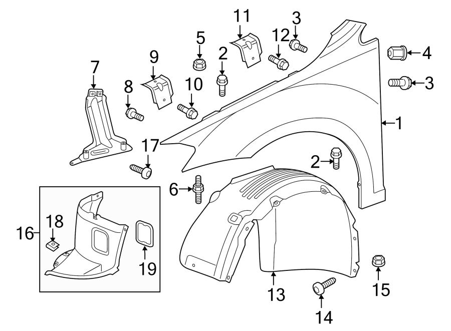 2018 Volkswagen Golf Fender Mounting bkt cap. COMPONENTS