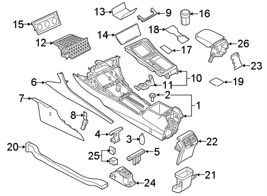2015 Volkswagen Golf R Console Cap. CONSOLE & TRIM, W/R OR