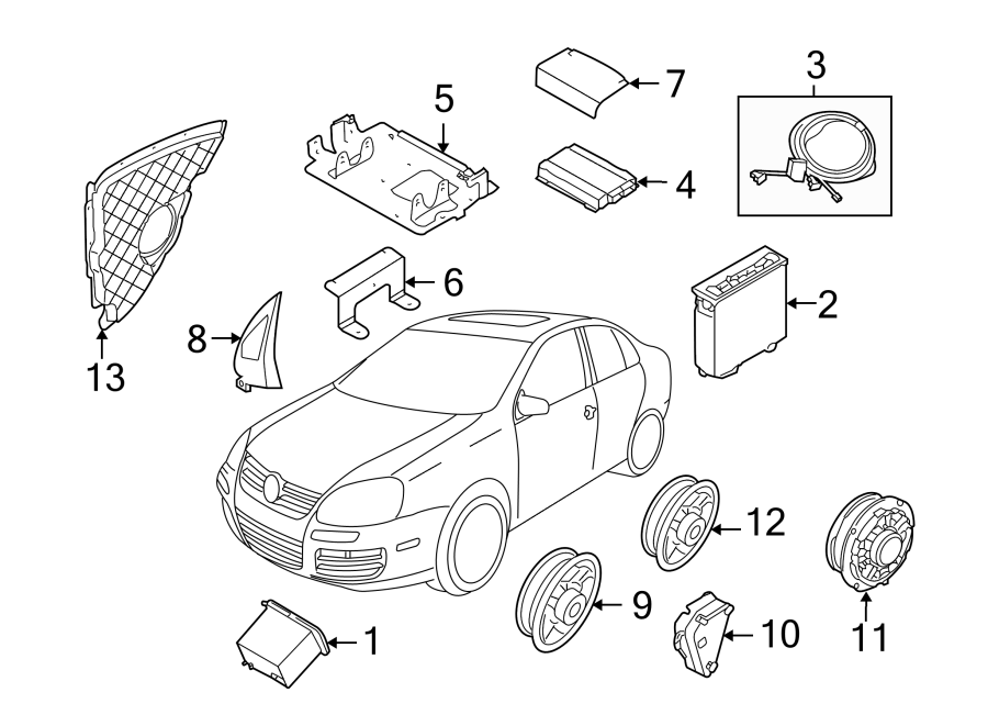 2012 Volkswagen Golf R Speaker. 2 door, w/o digital audio