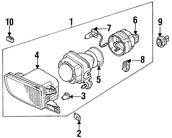 1997 Volkswagen Golf Fog lamp assembly. Headlight. Lens