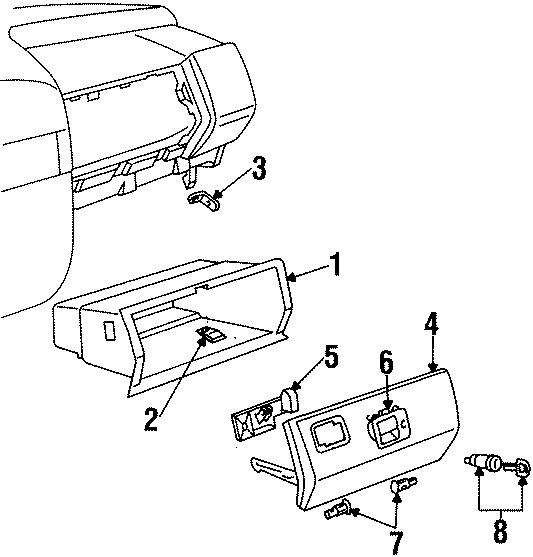 1997 Volkswagen Golf Catch. Glove box door latch. 1993-95