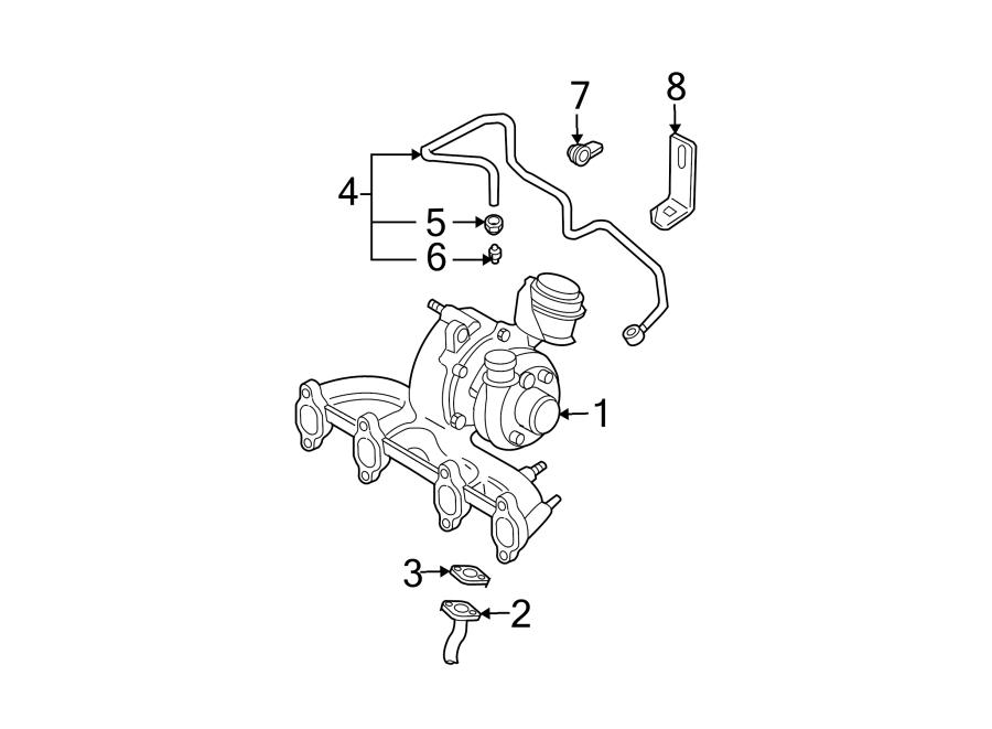 2003 Volkswagen Jetta Turbocharger Oil Line O-Ring. ENGINE