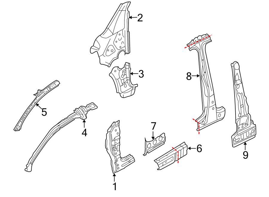 2007 Volkswagen Rabbit Pillar. REINFORCED. (Front, Lower