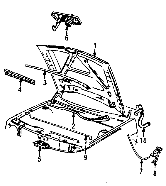 1986 Volkswagen Golf Latch. Lock assembly. Overslam bumper