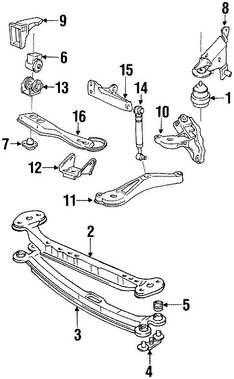 1988 Volkswagen Golf Insulator. RUBB MOUNT. Side mount