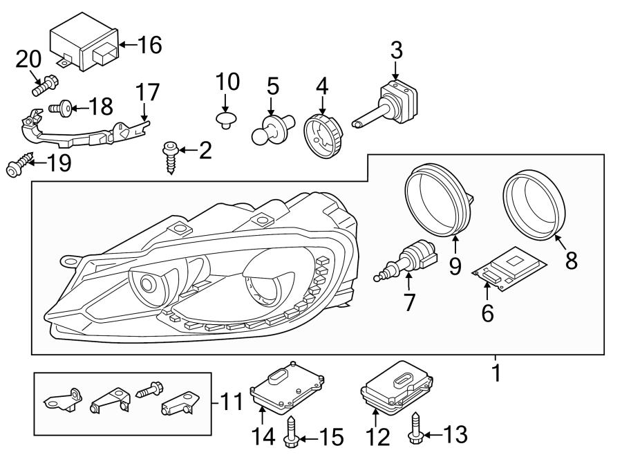 2014 Volkswagen GTI Headlight. 2012-14, W/O R. W