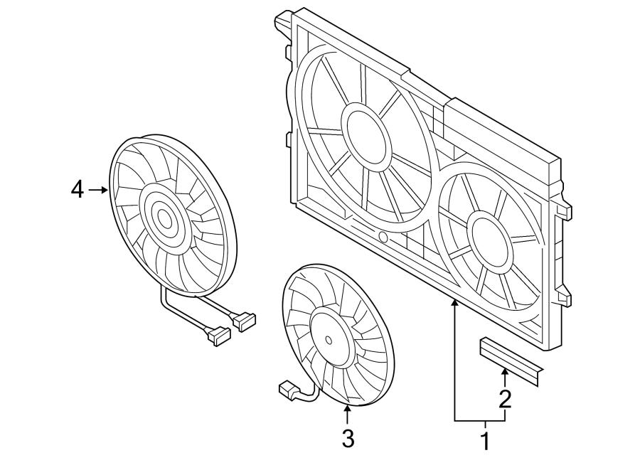 2010 Volkswagen GTI Engine Cooling Fan Motor. Left, LITER