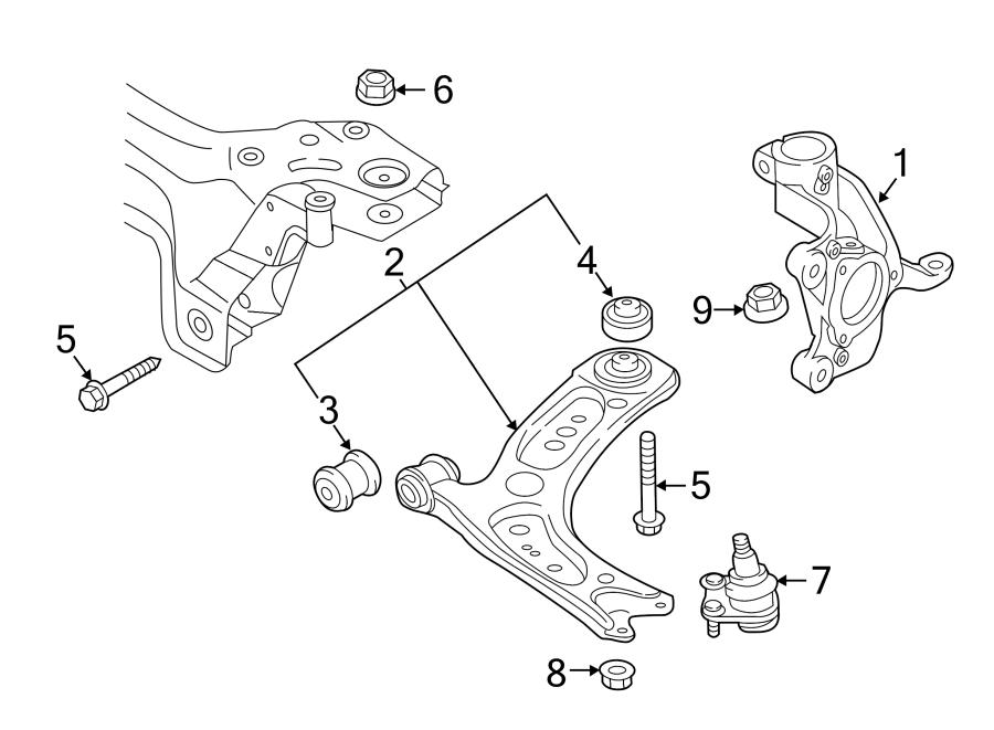 2017 Volkswagen GTI Housing. Steering Knuckle. Suspension