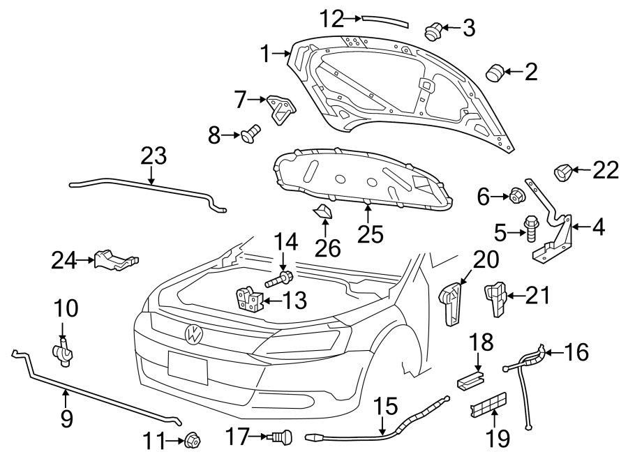 2013 Volkswagen Jetta Hybrid Handle. Release. Bracket