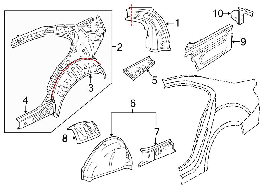 2015 Volkswagen Jetta Quarter Panel Reinforcement Bracket