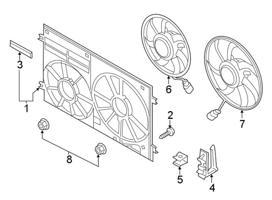 2018 Volkswagen Jetta Engine Cooling Fan Shroud Clamp