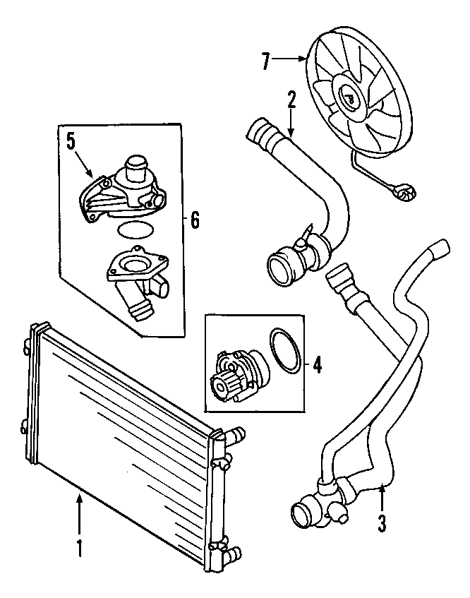 2002 Volkswagen Golf Engine Water Pump Assembly. Main