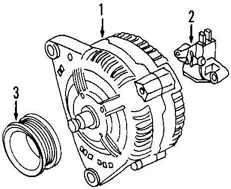 2001 Volkswagen Beetle Alternator. Hitachi, Amp, Battery