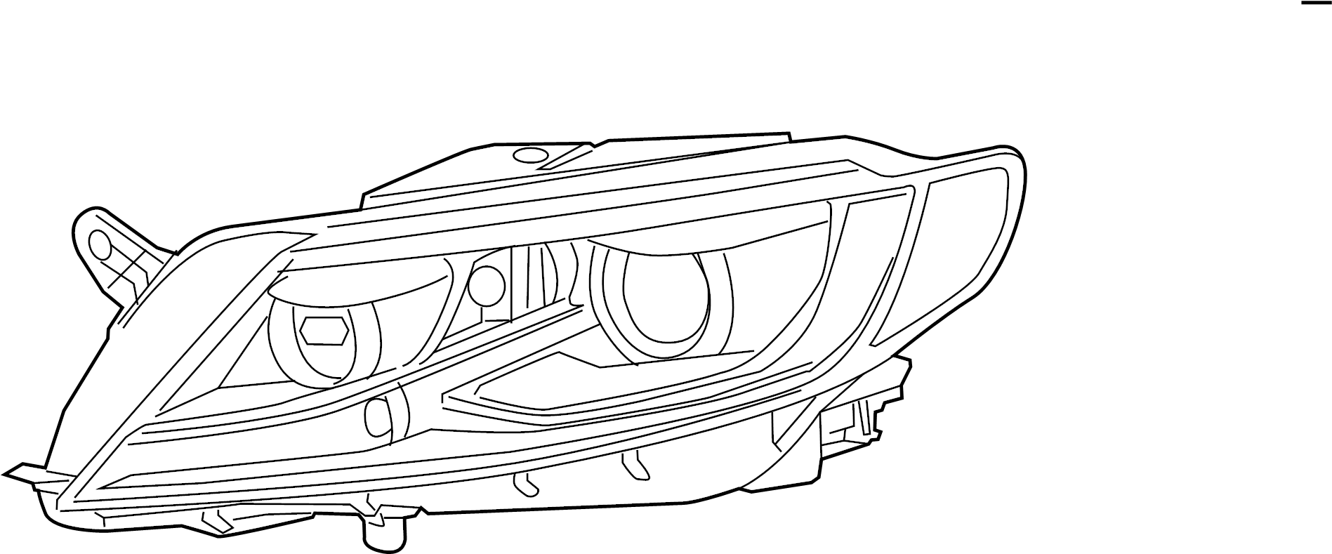2016 Volkswagen CC Headlight Assembly. 2013-2017, W/LED
