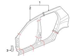 2013 Volkswagen GTI Uniside. Panel. Aperture. Hinge pillar
