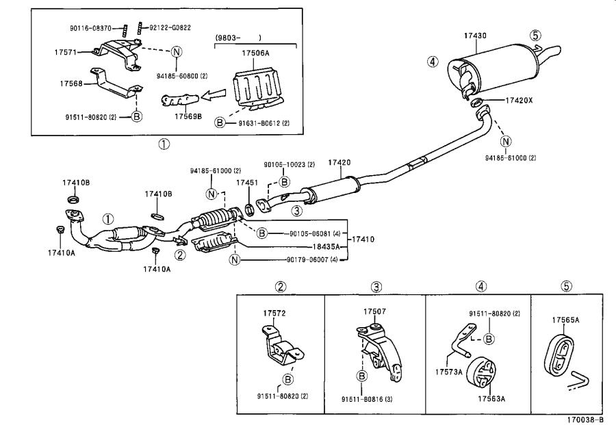 Lexus ES 300 Bracket, exhaust pipe support, no. 1. Engine