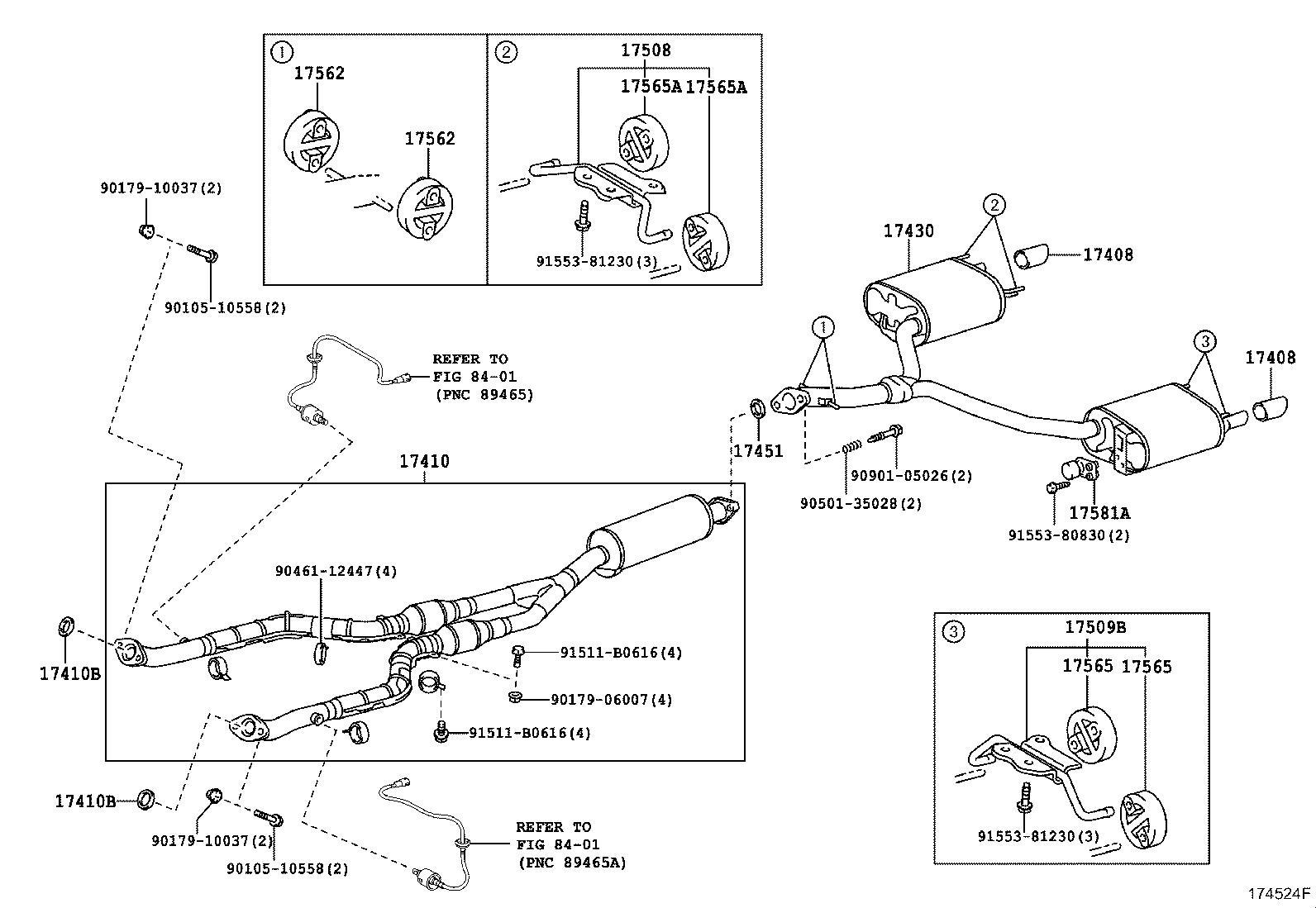 Lexus GS 350 Gasket. Exhaust pipe; exhaust pipe, center