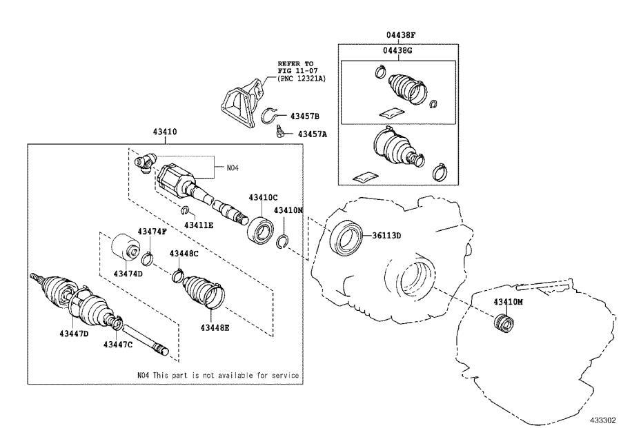 Lexus RX 350 Cv axle shaft carrier bearing clip (right
