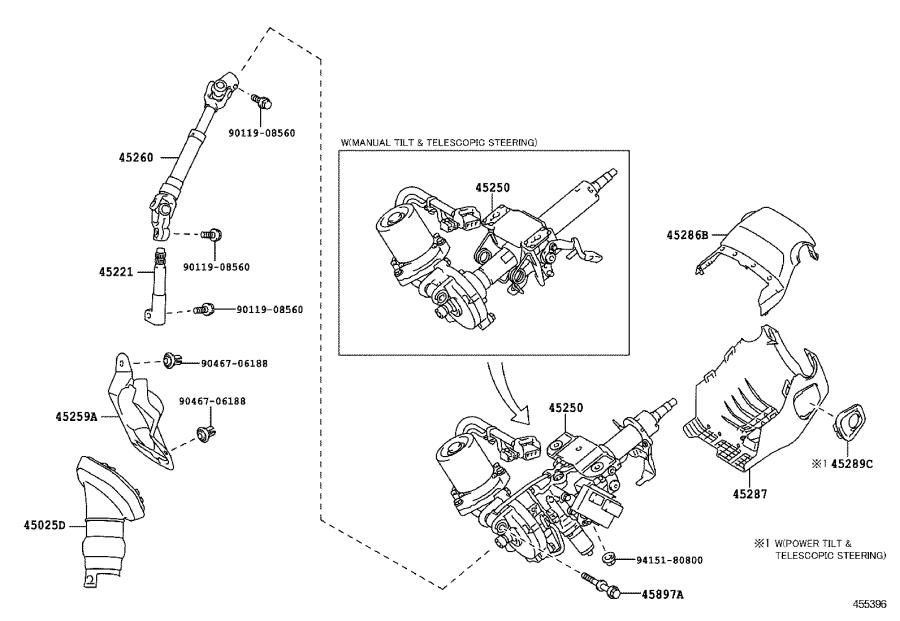Lexus HS 250h Column assembly, steering. Suspension, shaft