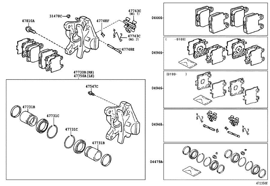 Lexus SC 430 Ring, set(for rear disc brake piston). Dust