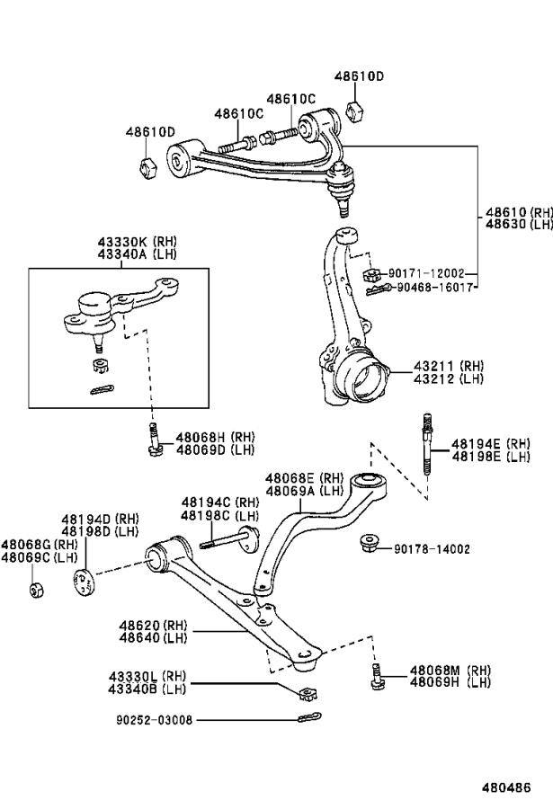 Lexus GS 430 Arm assembly, front suspension upper, right