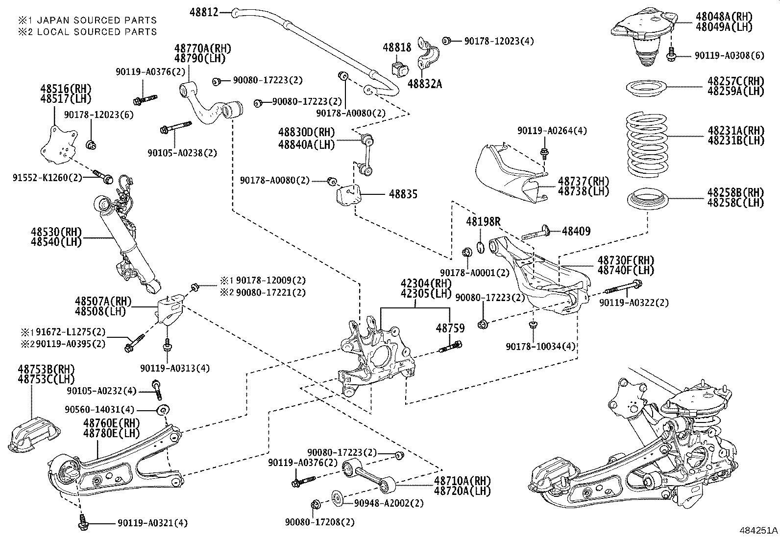 Lexus RX 350 Absorber assembly, shock, rear right. Mark