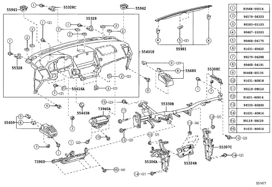 Lexus RX 400h Panel sub-assembly, instrument panel speaker