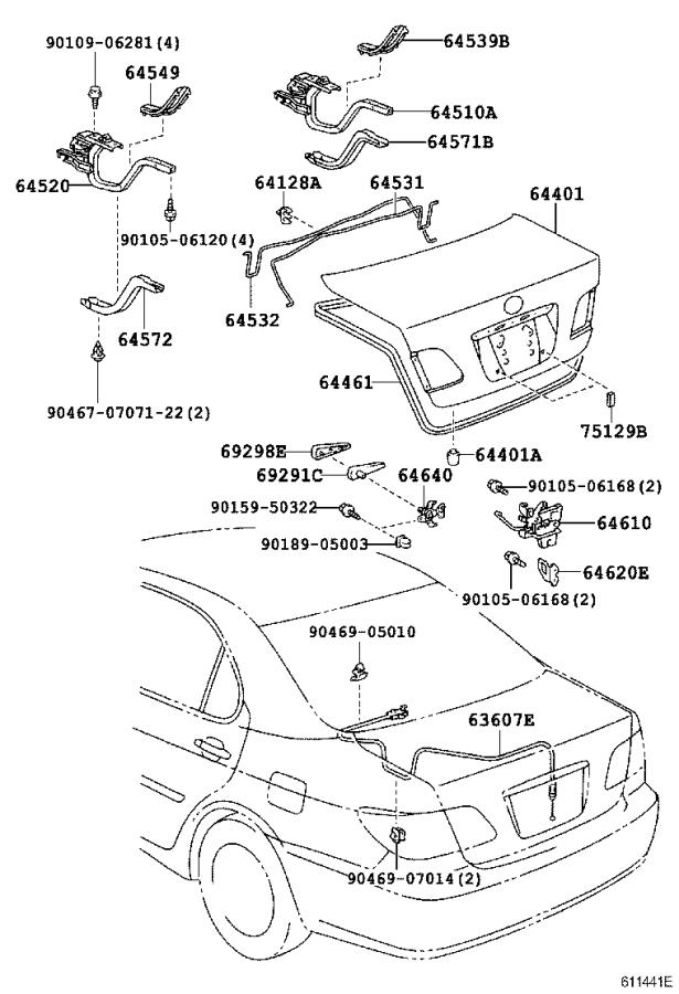 Lexus ES 330 Panel sub-assembly, luggage compartment door